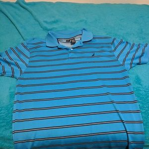 Blue short sleeve shirt with brown strips.